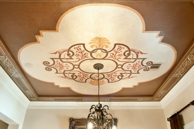 Stenciled Ceiling Inset And Border Surround With Modern Masters