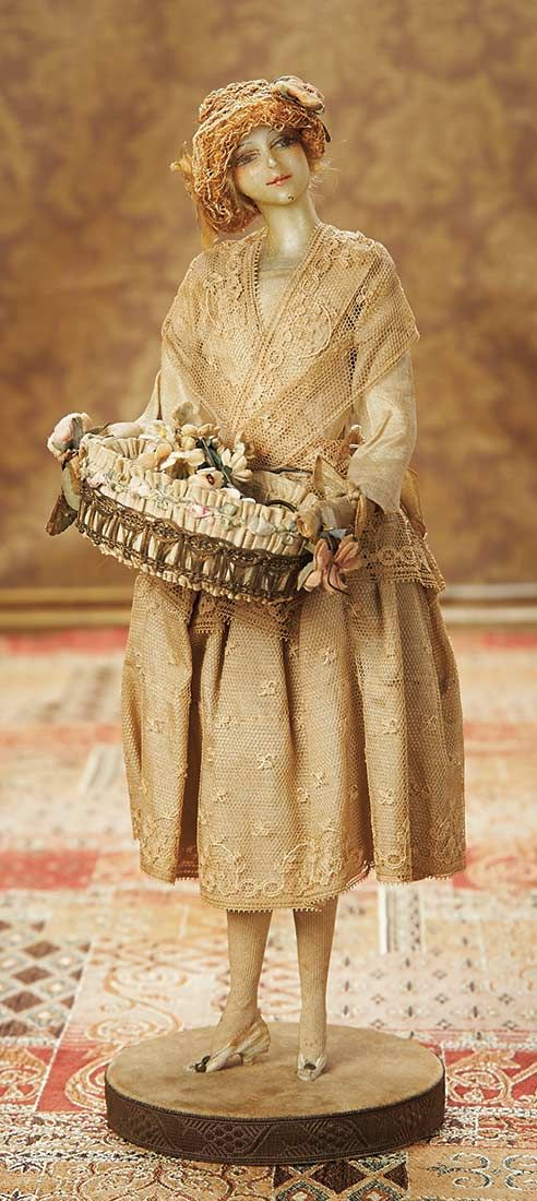 View Catalog Item - Theriault's Antique Doll Auctions  French Wax Fashionable Lady by Lafitte-Desirat on Original Stand