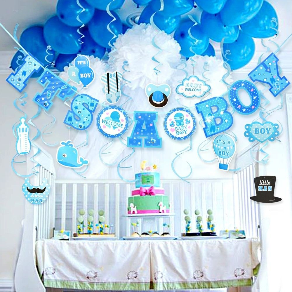 Baby Shower Decorations For Boy It S A Boy Baby Shower Decorations Hanging Banner For Baby Boy Shower Room Decoration Kit C1189olwmxk Boy Baby Shower Centerpieces Baby Shower Decorations For Boys