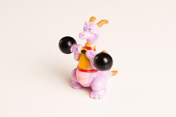 Vintage 1982 Disney Toy PVC Figment Dragon Lifting Weights Figure, Epcot Center, Disneyana