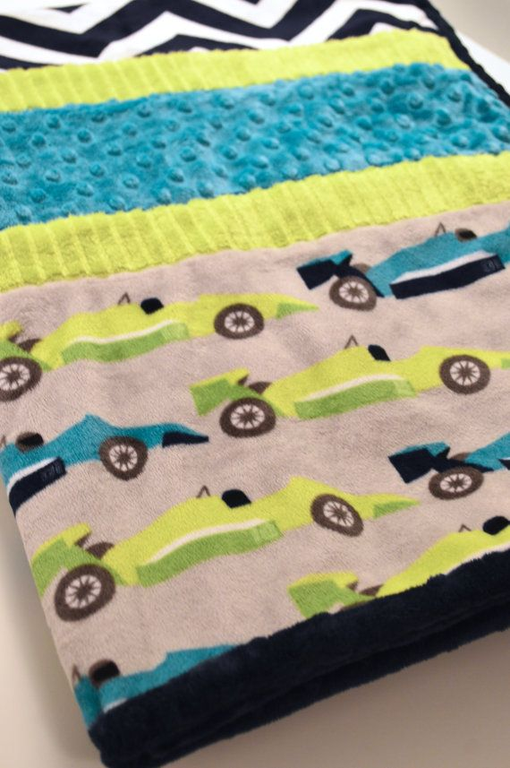 Boys Large Double Minky Blanket with Race Cars & navy blue Cheveron pattern