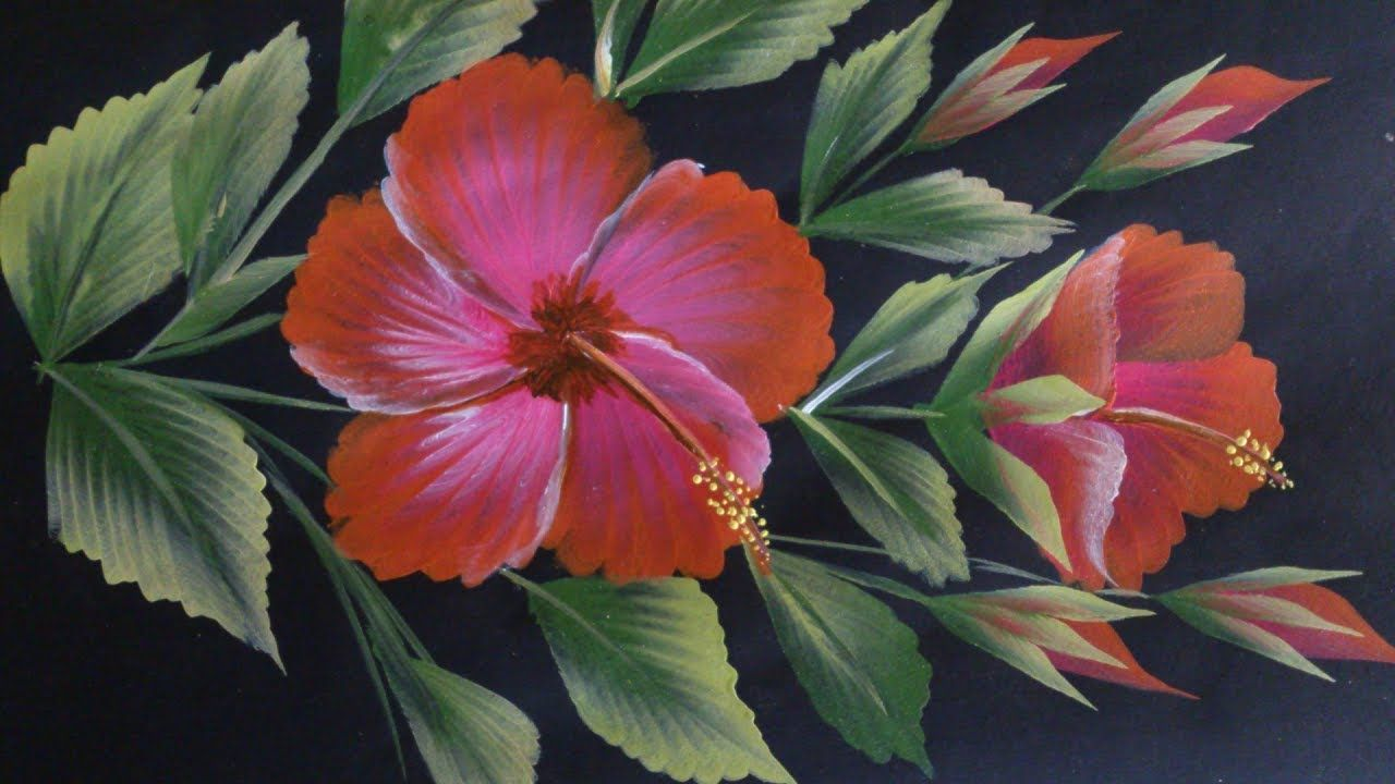 One Stroke Painting Hibiscus Flower Painting Youtube Flower Painting Acrylic Painting Flowers Flower Drawing
