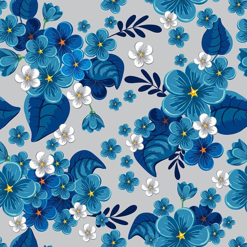 d941be59d322 Papel de Parede Floral Azul em 2019 | ➿Blue➿ | Papel de parede ...
