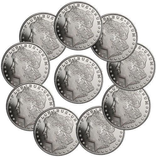 Read Carefully Lot Of 10 Morgan Dollar Design 1 Troy Oz 999 Fine Silver Silver Bullion Fine Silver Silver Rounds