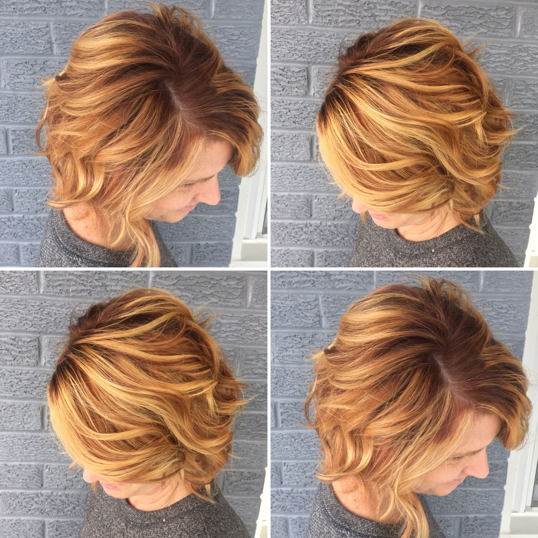 Copper red shadow root, golden blonde highlights | Hair by Alicia ...