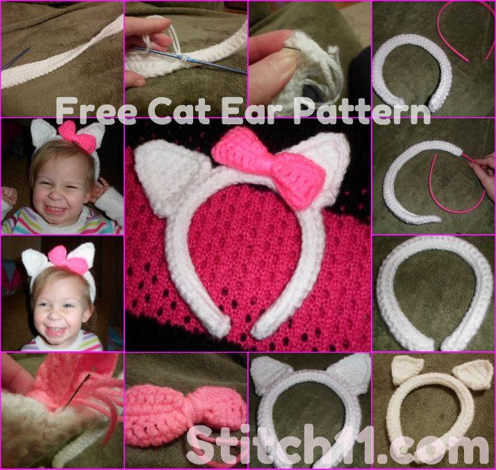 Free Crochet Cat Ear Headband Pattern. | Amigurumi | Pinterest ...
