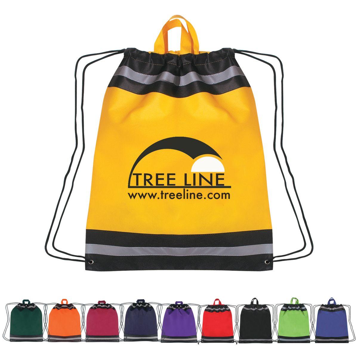 Large NonWoven Reflective Sports Drawstring Bag