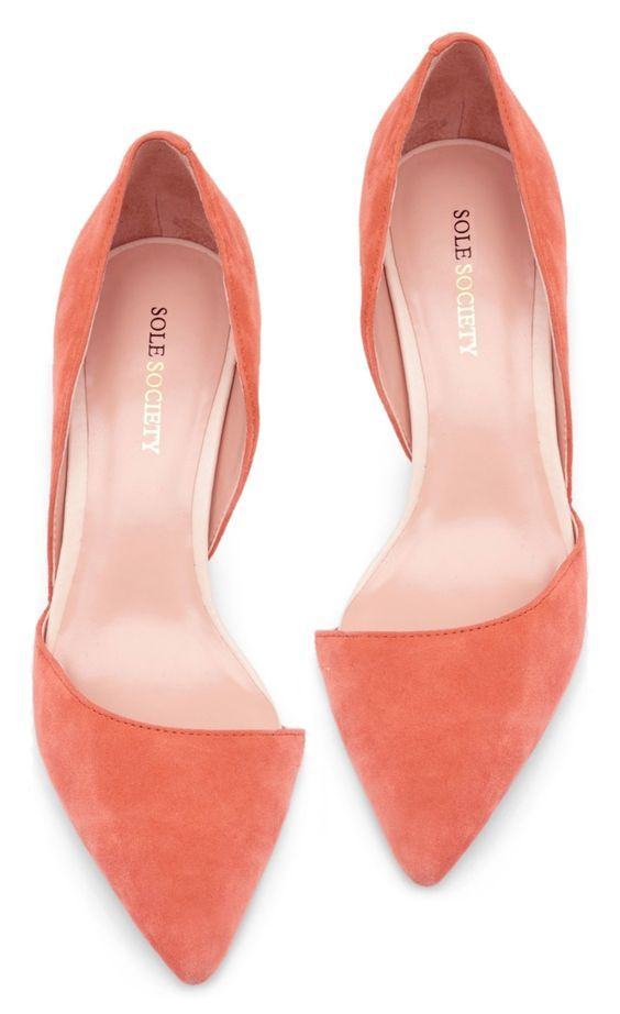 Coral / Peach D'orsay Heels. Latest Shoes Trends.