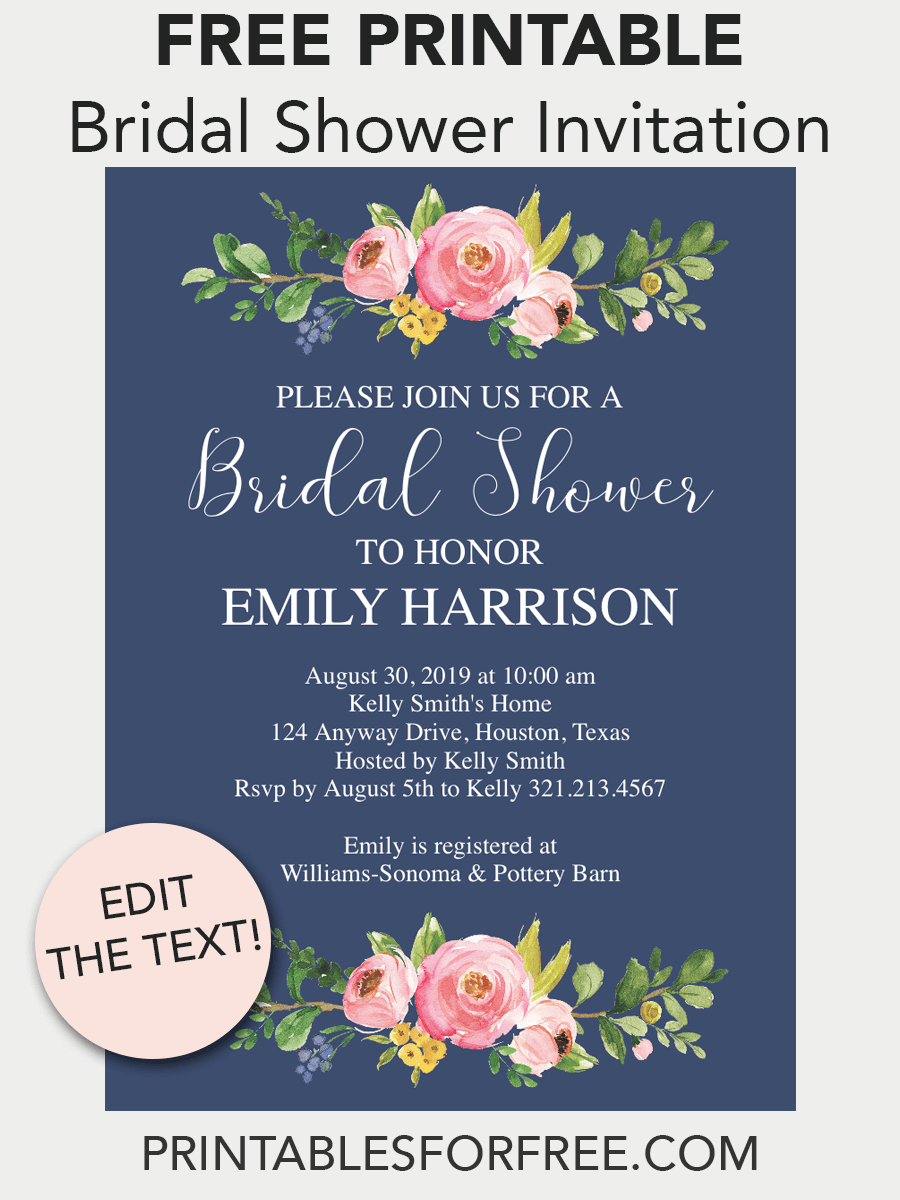 image regarding Free Printable Bridal Shower Invitation Templates referred to as Military services Floral Printable Bridal Shower Invitation Totally free