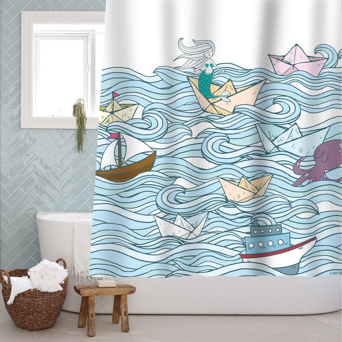 72 Sailboat Mermaid Fabric Shower Curtain Bathroom Decor