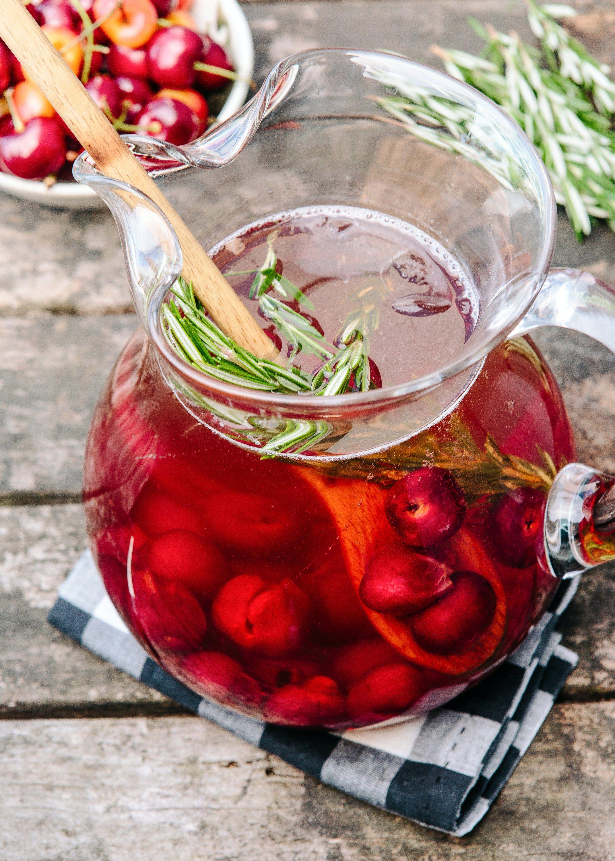 Sparkling Cherry Rose Sangria Recipe Rose Sangria Sangria Recipes Pitcher Drinks