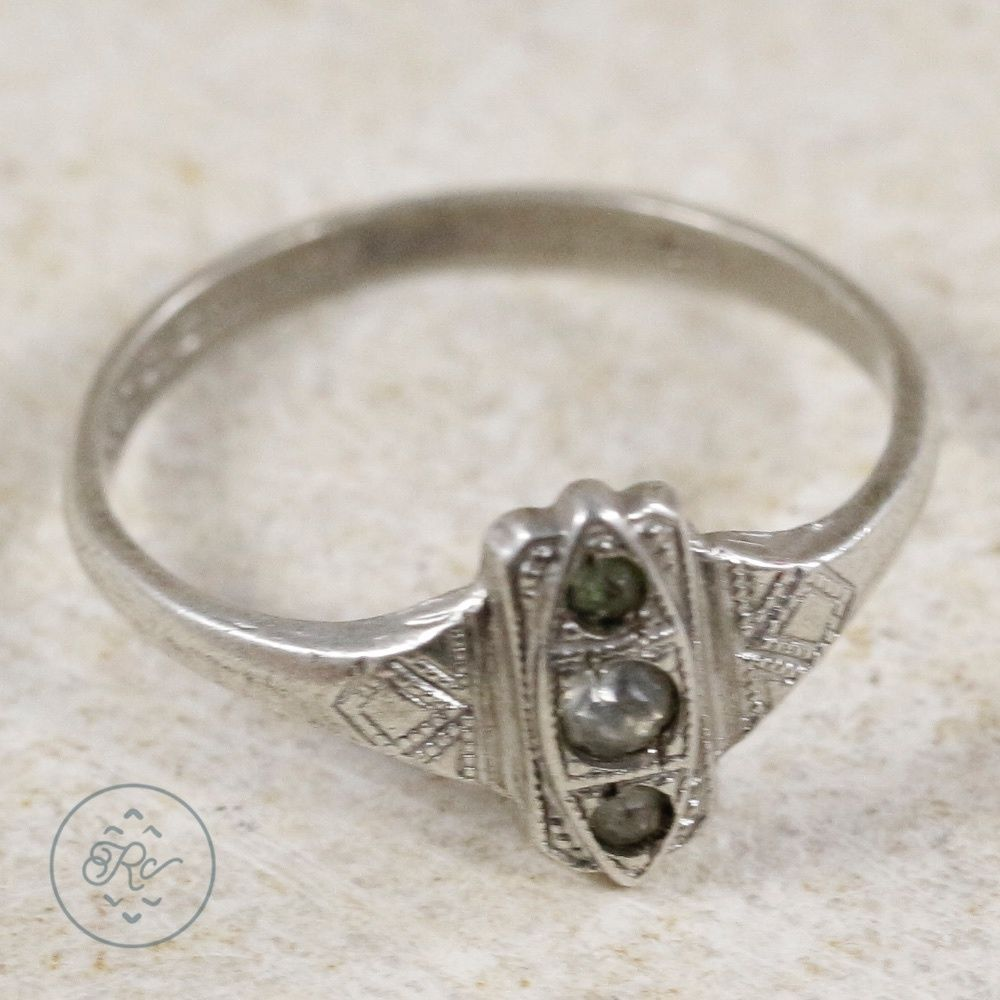 Sterling Silver - UNCAS ART DECO Rhinestone 1.1g - Ring (5.75) OM7992