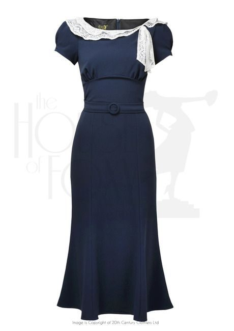 1930s Charm Dress Navy | 1930s fashion, Fashion, Retro dress