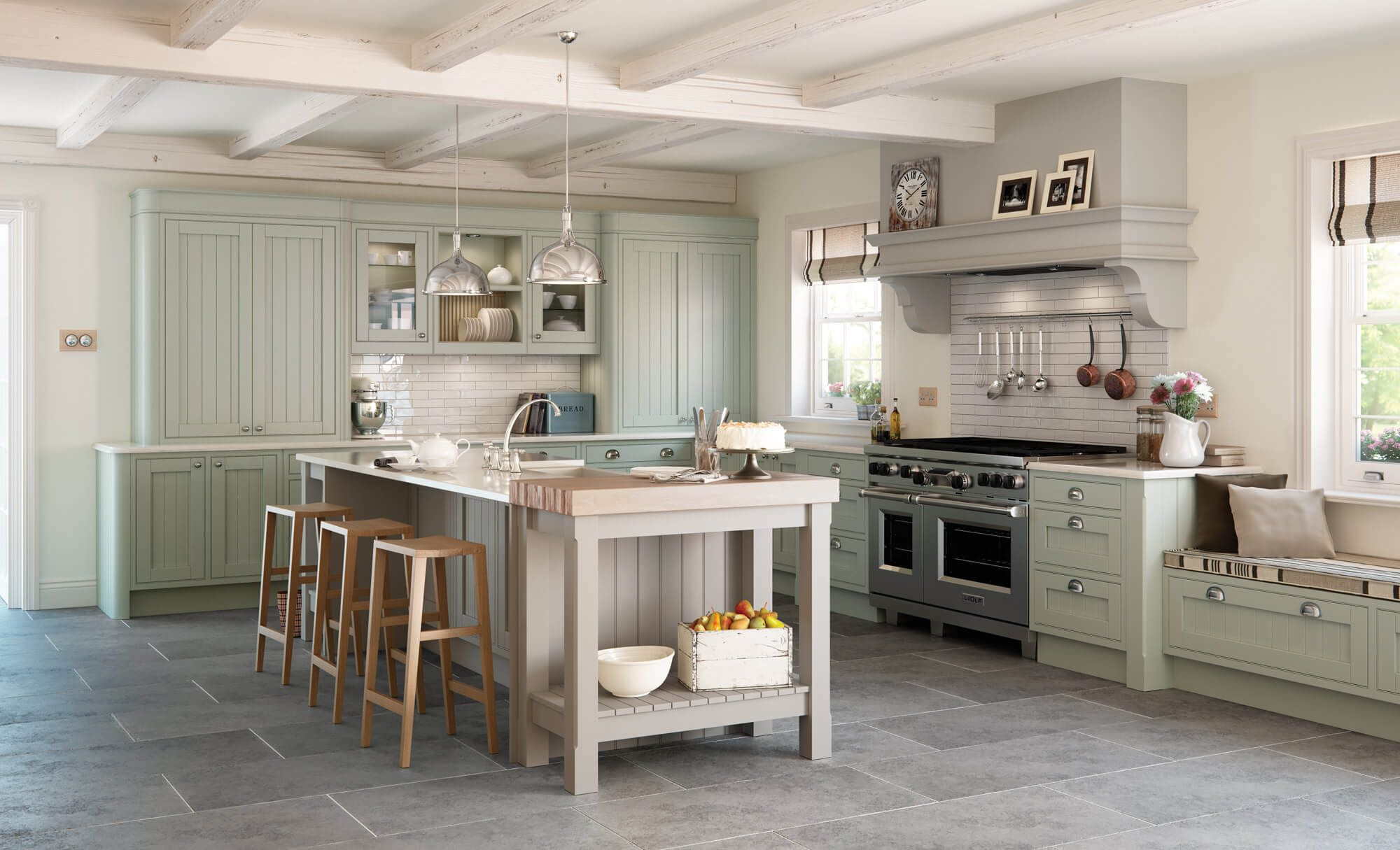 Mayfair Kitchen Painted Sage Green & Stone in 2019