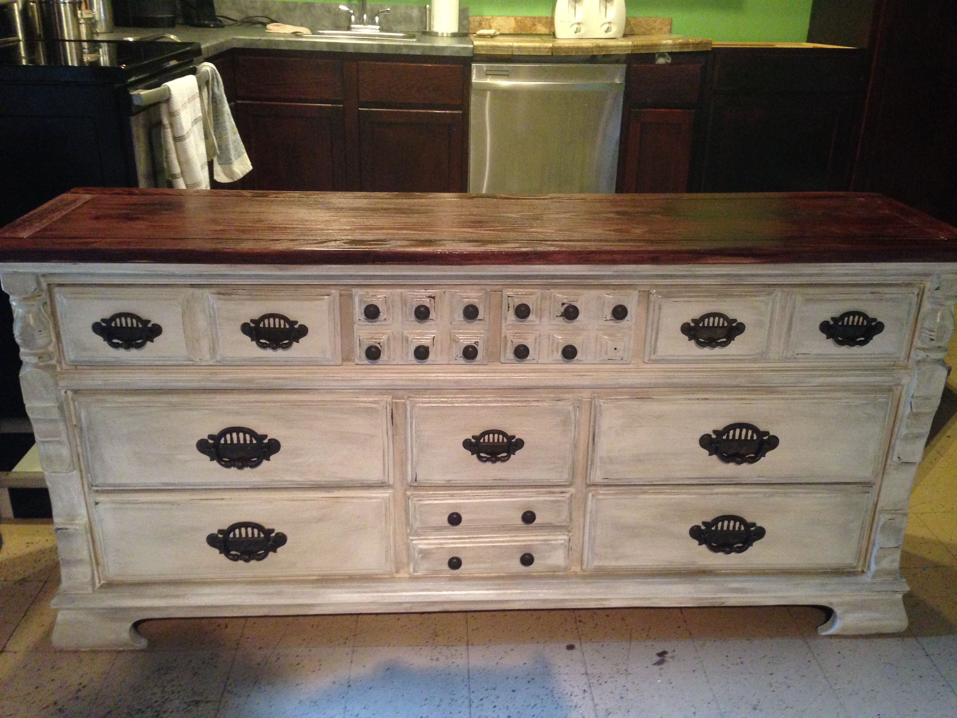 Old dresser repurposed into kitchen island. I painted and antiqued ...