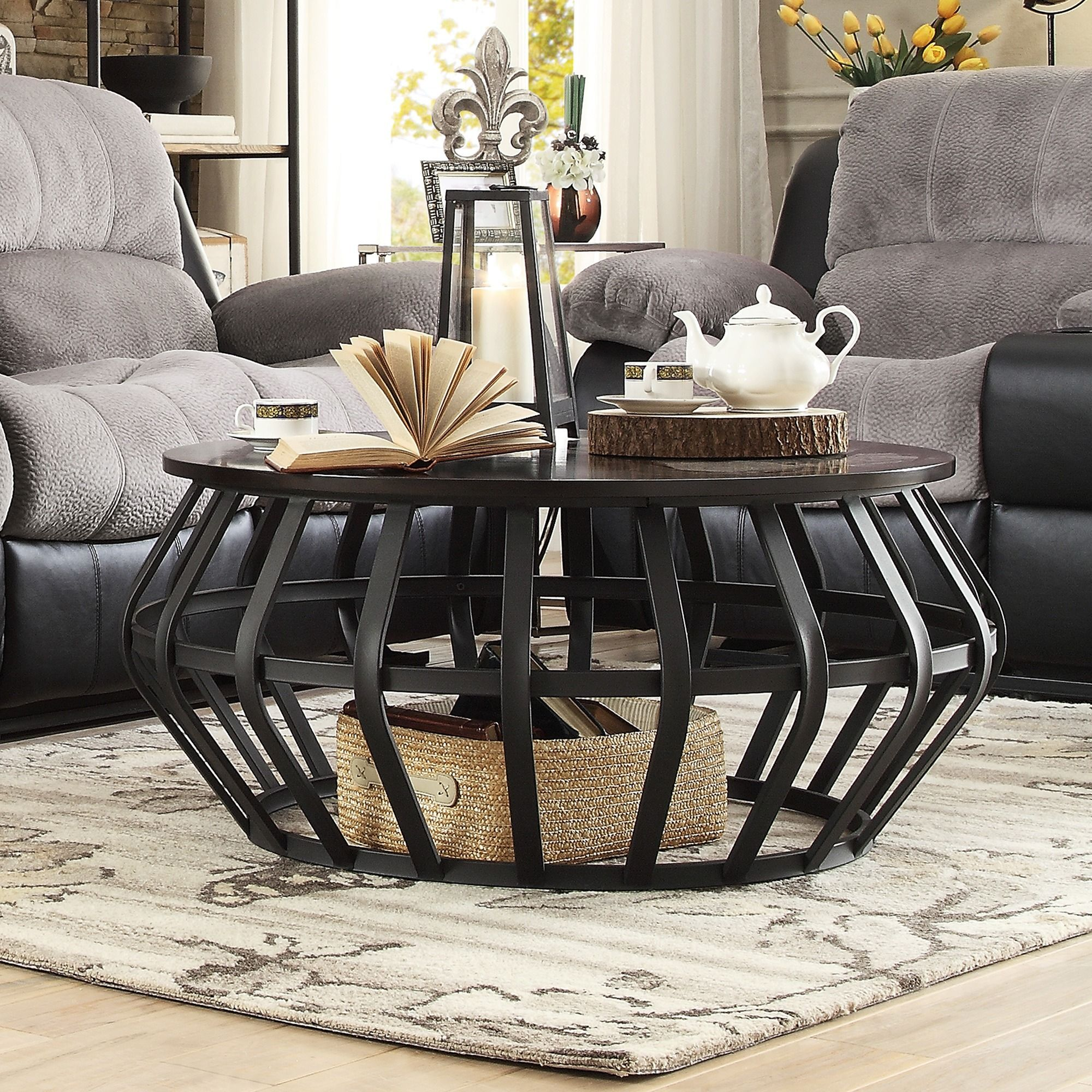 Bentwood metal frame round cage slate accent coffee table