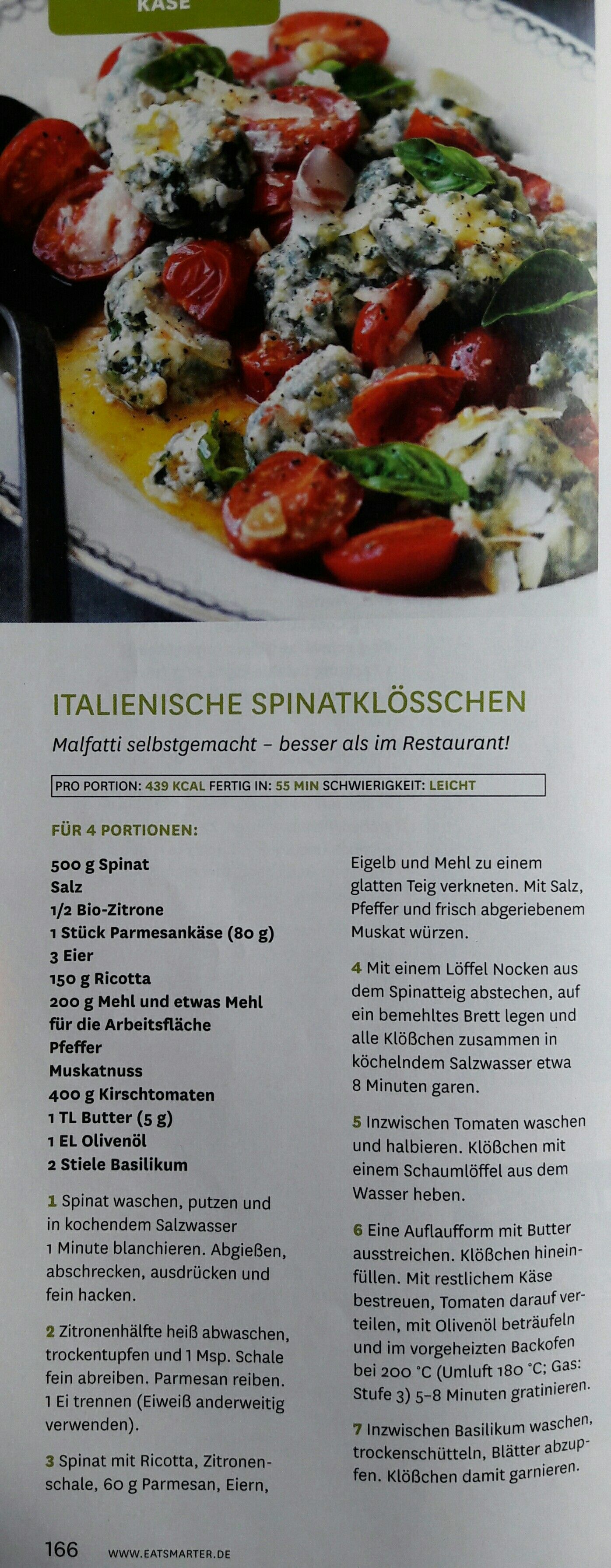 Italienische Spinatklosschen Malfatti Portionen Spinat Klosse