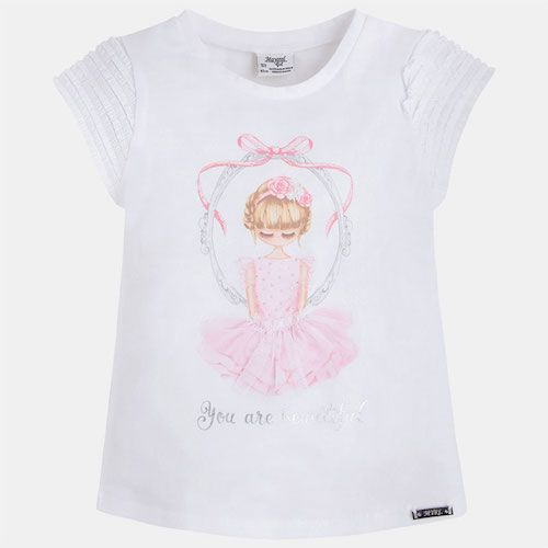 cc592867e20013 Girls ivory cotton jersey t-shirt by Mayoral Chic. This pretty top has a  pale pink ballerina print on the front, decorated with a tulle tutu.