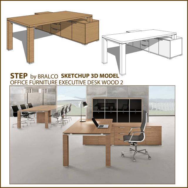 Free Sketchup 3d Model Office Wood Executive Desk Jet Furniture Interior Design Plan Office Furniture