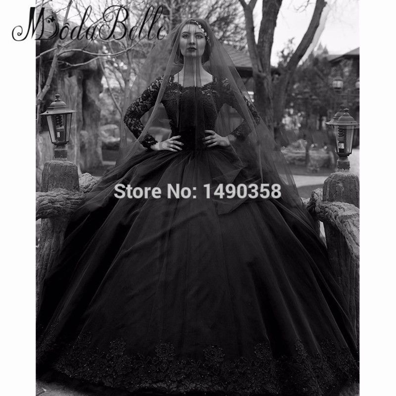 Find More Wedding Dresses Information about Winter Sexy Black Gothic Wedding Dresses Long Sleeve Lace Ball Gown Bruidsjurk With Free Veil 2017 New Bridal Gown,High Quality lace gown,China lace back wedding gown Suppliers, Cheap lace vintage wedding dress from ModaBelle Store on Aliexpress.com