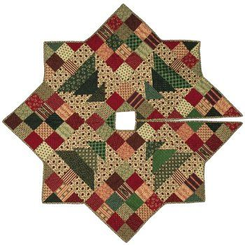 Christmas Patch Tree Skirt Quilt Pattern Using Fat Quarters 5 Each Of Red Green And Light