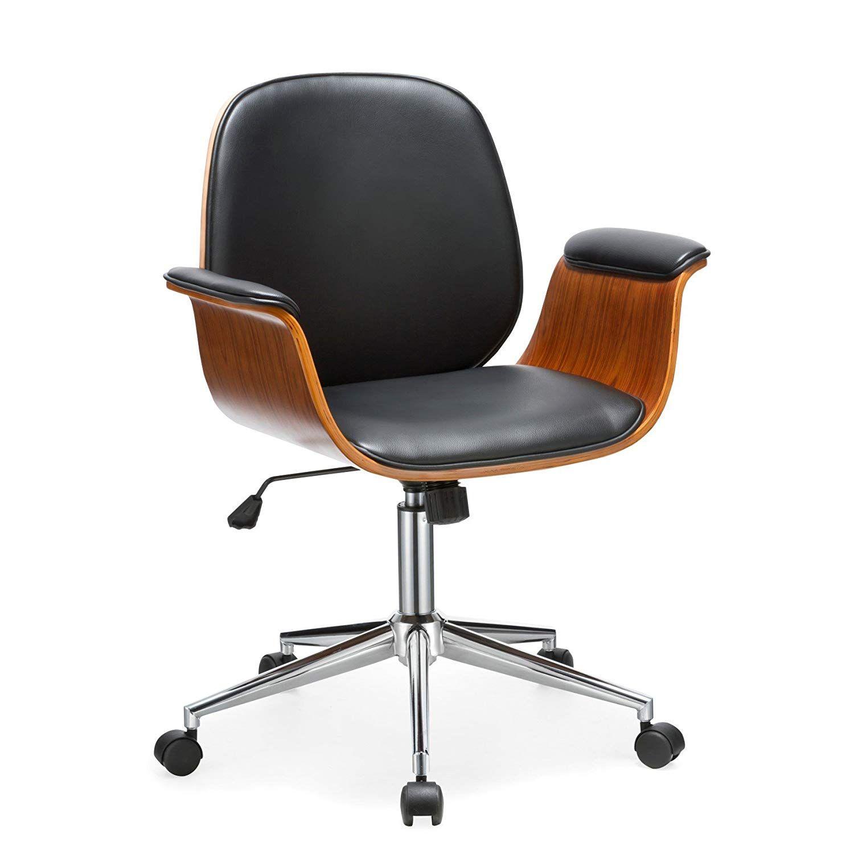 Mid Century Modern Desk Chairs In 2020 Black Office Chair Wood Office Chair Home Office Chairs