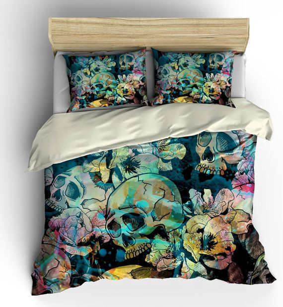Sugar Skull Bedding Duvet COVER set Calavera Floral Abstract | Duvet ...