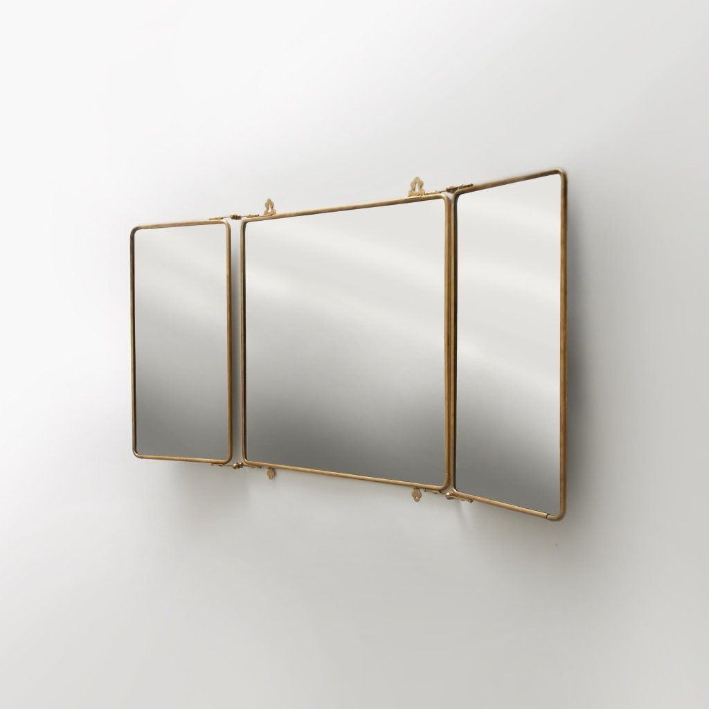 Daphne Metal Rectangular Wall Mounted Trifold Mirror 42 3/8\