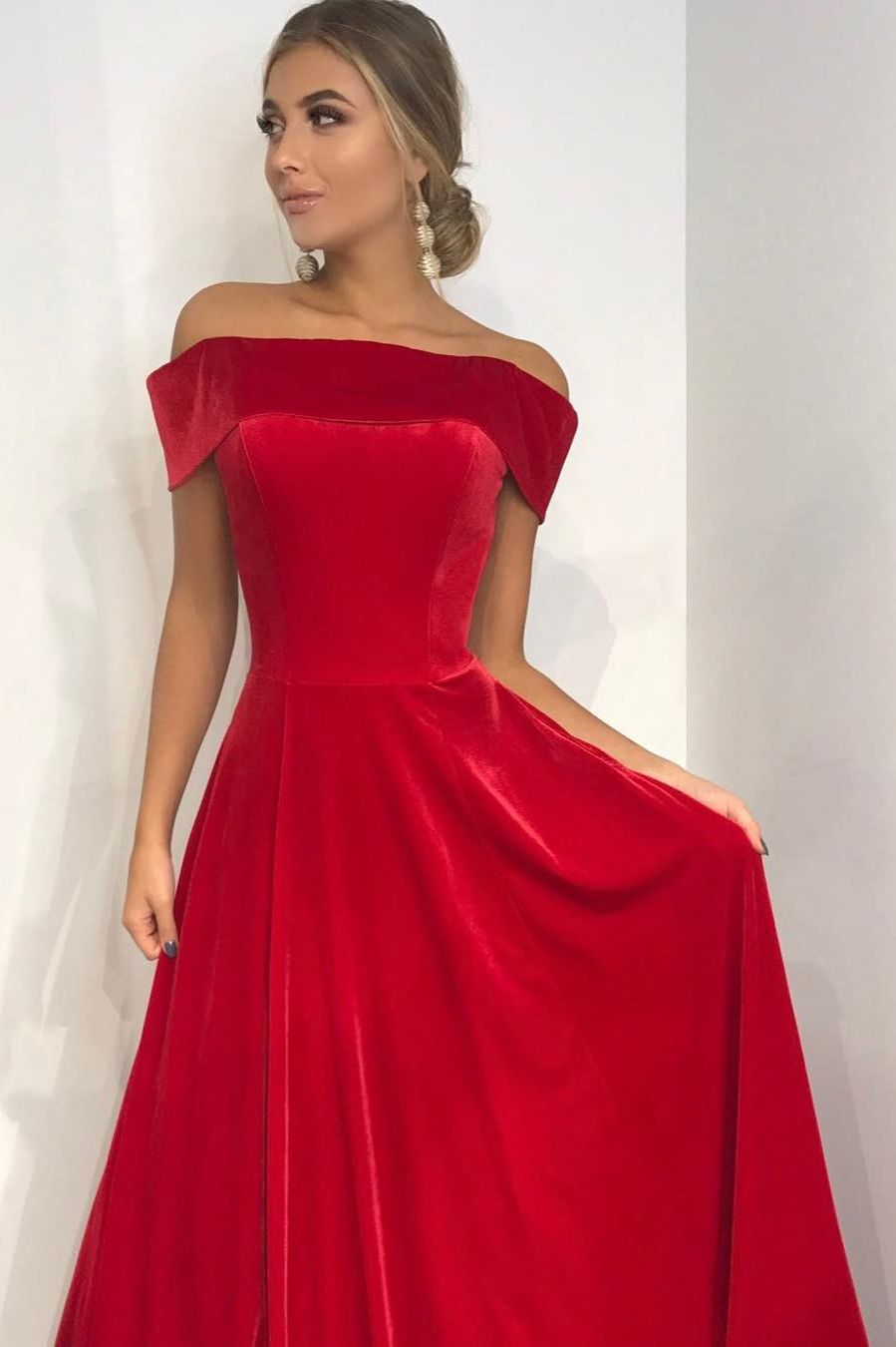 Off the shoulder red velvet long prom dress dresses pinterest