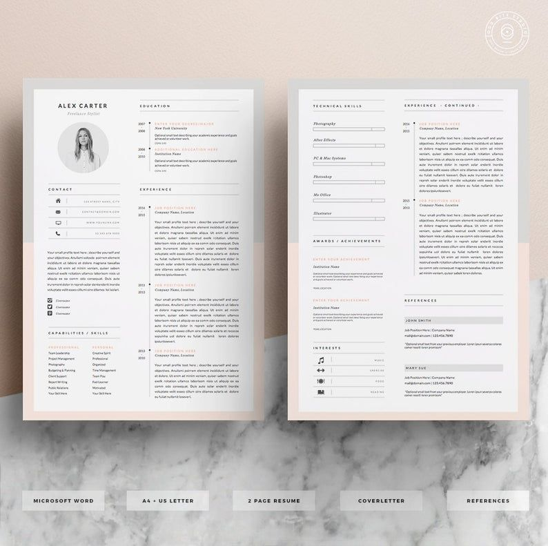 Modern Resume Template & Cover Letter + Icon Set for Microsoft Word | 4 Page Pack | Professional CV | Instant Download | The