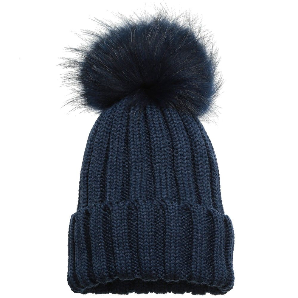 308a056240d Catya - Navy Blue Knitted Hat with Fur Pom-Pom