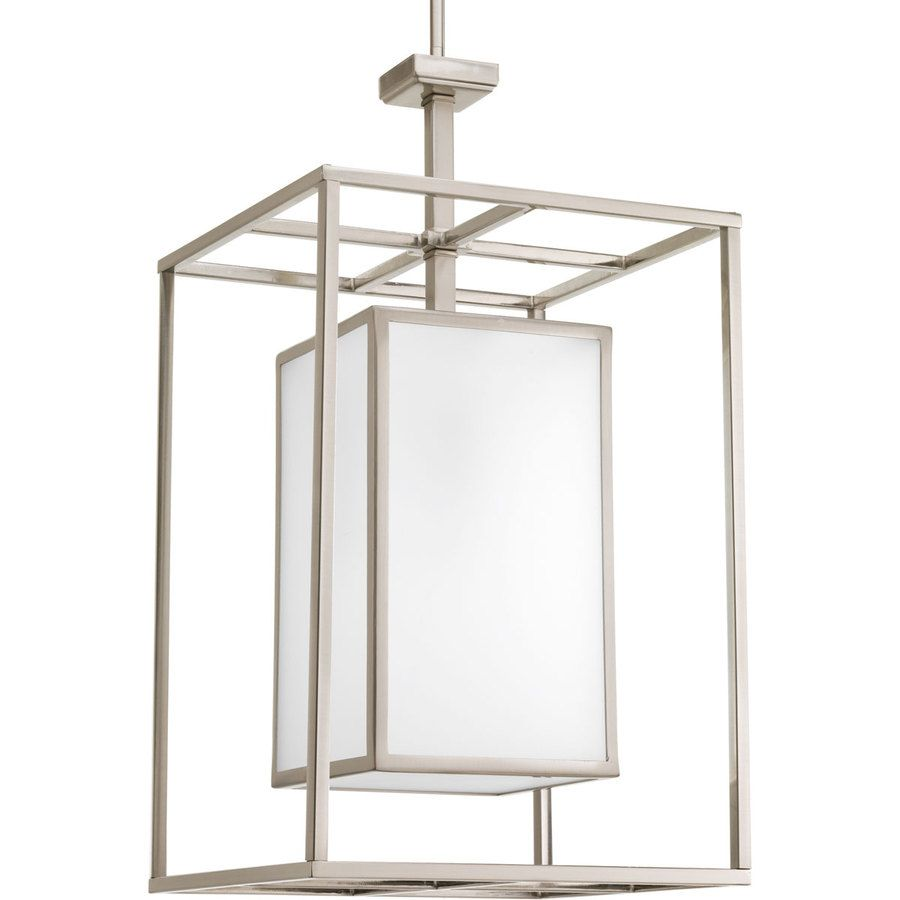 Brushed Nickel with Etched Glass 1 Light Indoor Pendant Light