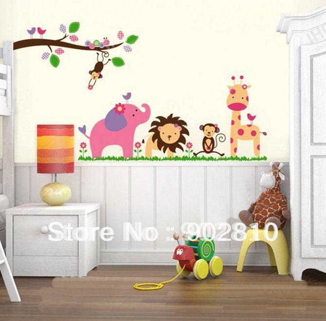 muur schildering dierentuin baby kamer - google zoeken | babykamer, Deco ideeën