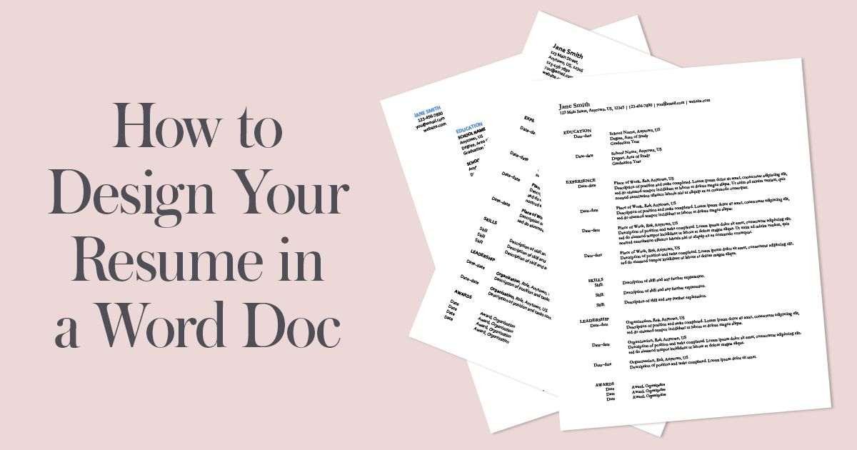 How to Design Your Resume in a Word Doc Resume words