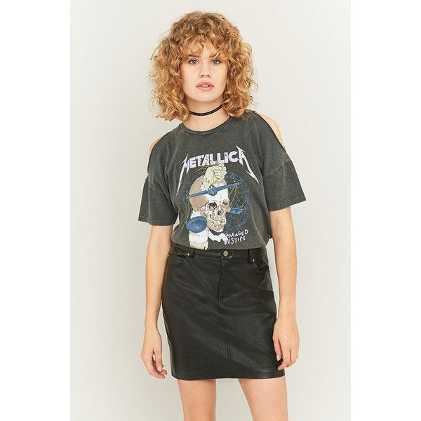 82386b98a7b9c Long Gone Metallica Cold Shoulder Black T-shirt (£32) ❤ liked on Polyvore  featuring tops, t-shirts, black, crew-neck tee, cut out sleeve top, cold  shoulder ...