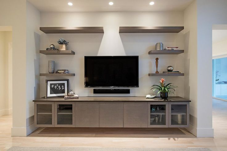 Entertainment center living room contemporary with floating shelves ...