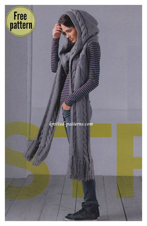 Stylish Hooded Scarf Free Knitting Pattern Knitted Pinterest