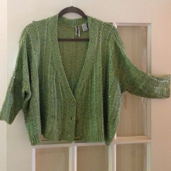 Green sequin sweater 3/4 sleeves, boxy, v-neck with three buttons in front.  Worn once, excellent condition.  All items in outfit pic are available, see individual listings for details.  Happy to bundle for you! BKE Sweaters