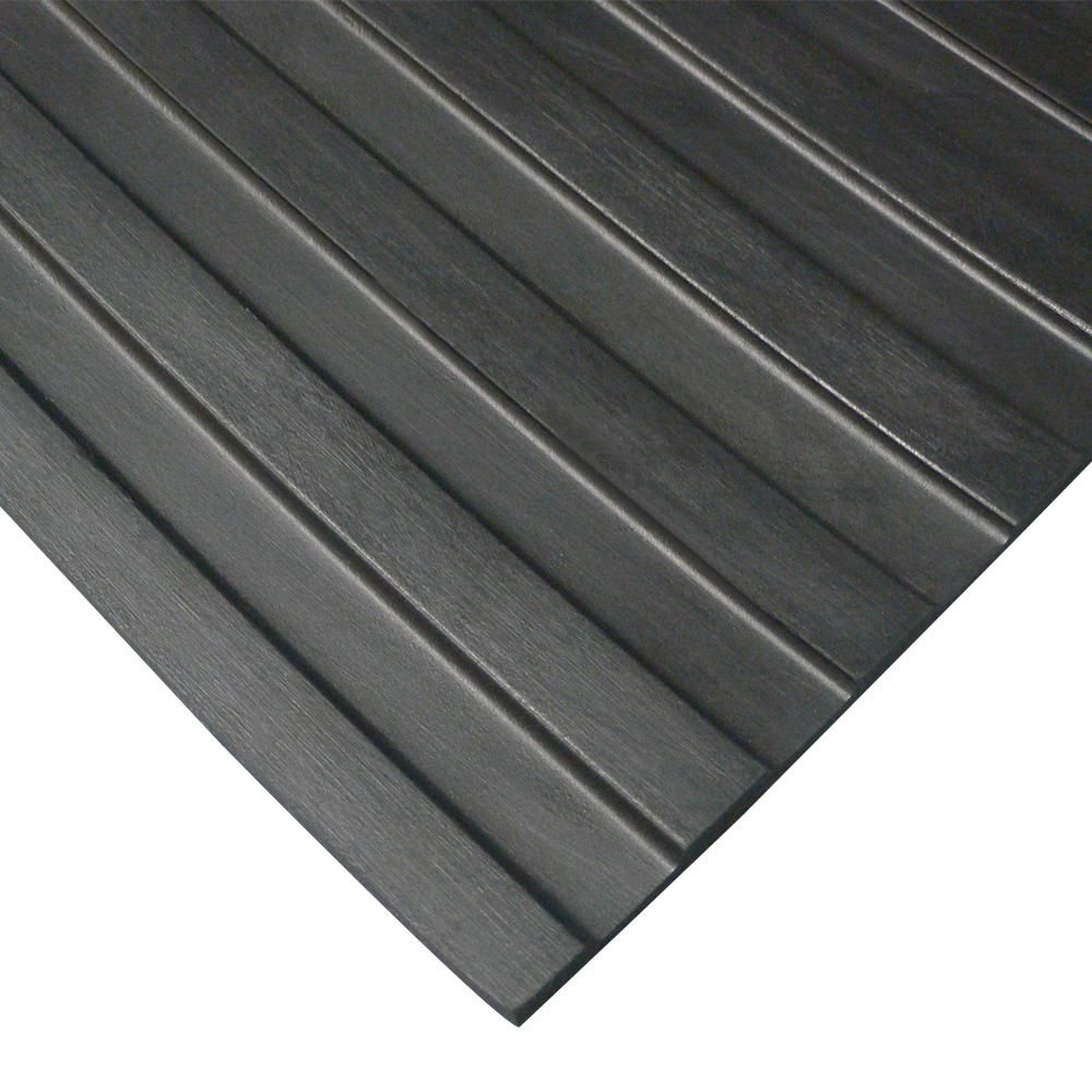 Rubber Cal Wide Rib Corrugated Rubber Floor Mat 4 X 6 X 3mm Black Rubber Flooring