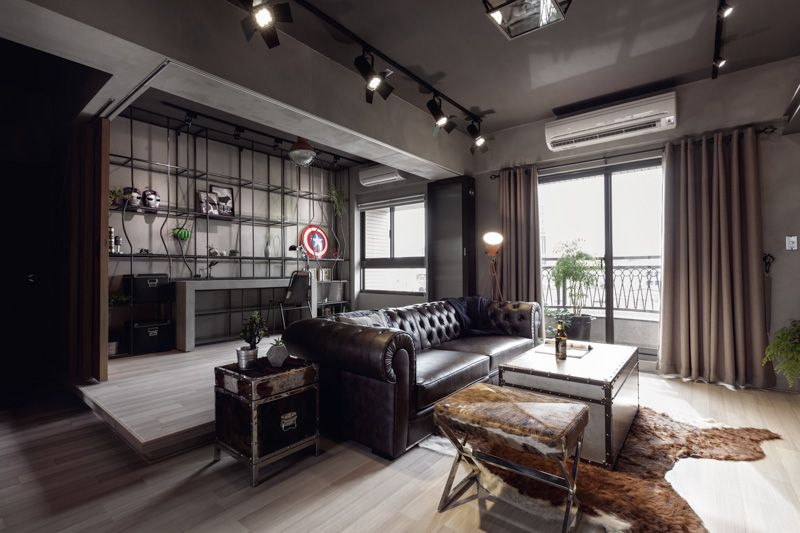 Perfect Balance Achieved For An Industrial Bachelor Pad Apartment Interior Bachelor Pad Living Room Apartment Design