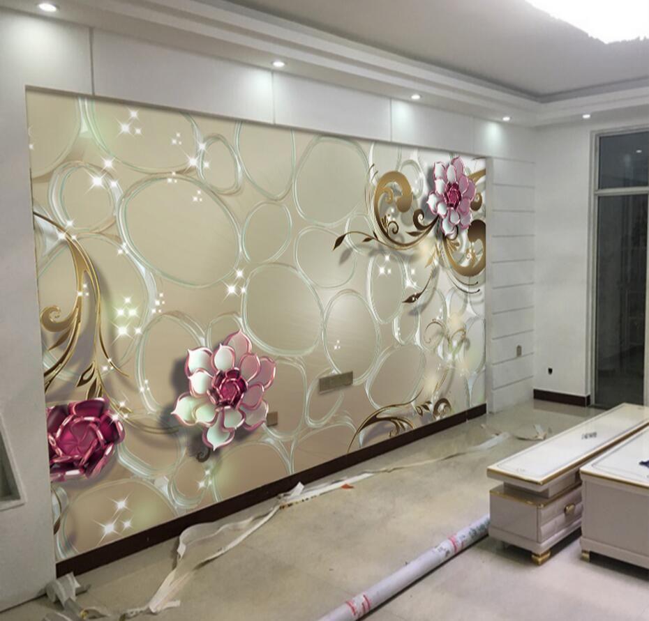 Wedding room decoration ideas  D Embossed Rose Flower Photo Wallpaper Mural d Large Size for