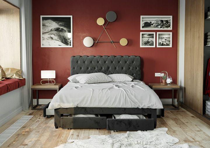 łóżko Tapicerowane 1217d 180x200 Z Materacem Sypialnia