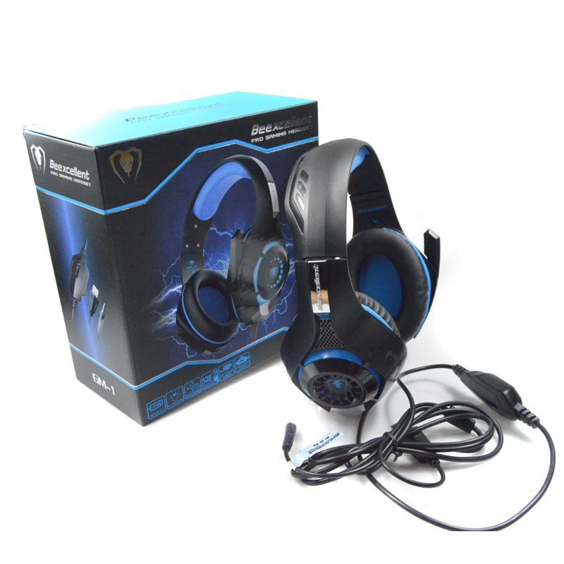 BrankBass Gaming Headphones&Volume Control 3.5mm Noise Cancelling Earphones Mic Stereo Bass LED Light for PS4 PC Tablet/Laptop