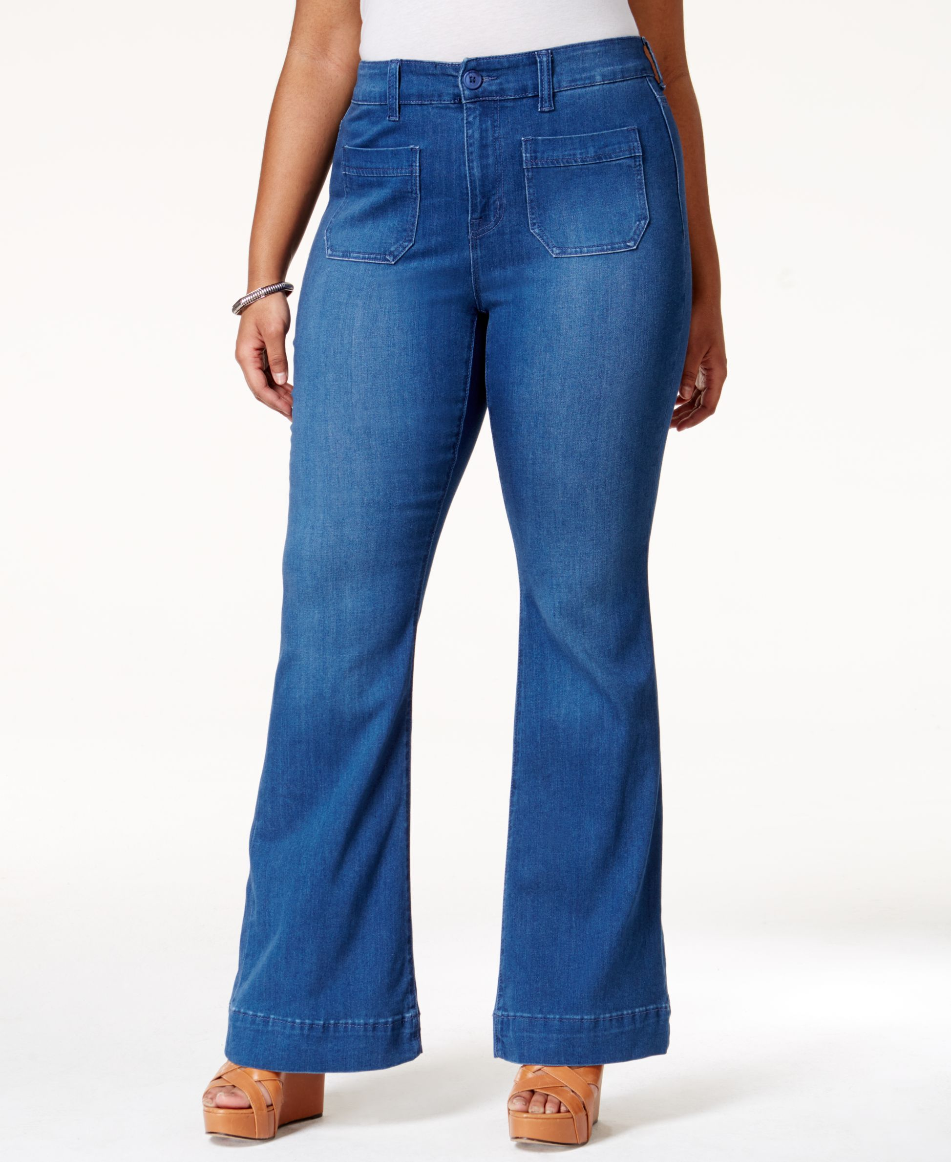 c815e367217 Womens Plus Denim High Rise Flare Jeans. Melissa McCarthy Seven7 Plus Size  Apollo Wash Flared Jeans
