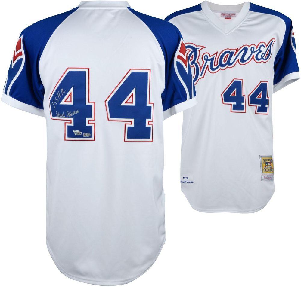 Hank Aaron Atlanta Braves Signed M N Blue White 1974 Throwback Jersey Atlanta Braves Braves Jersey Hank Aaron