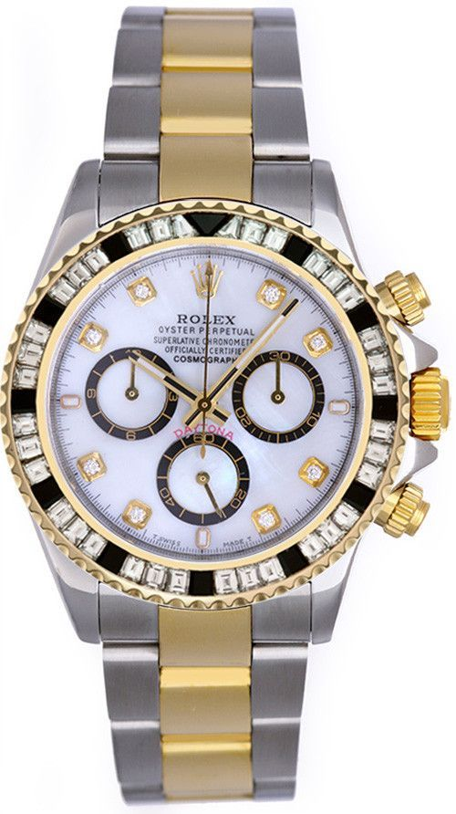 11483b58a69 Rolex Daytona Two Tone White MOP Diamond Dial   Baguette Black Quartz Bezel