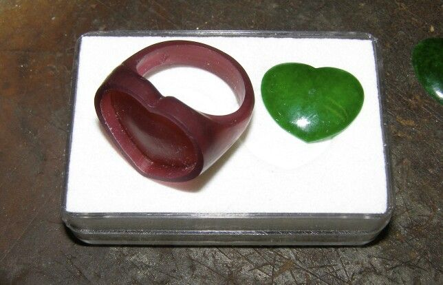 Wax master for ring to take jade heart