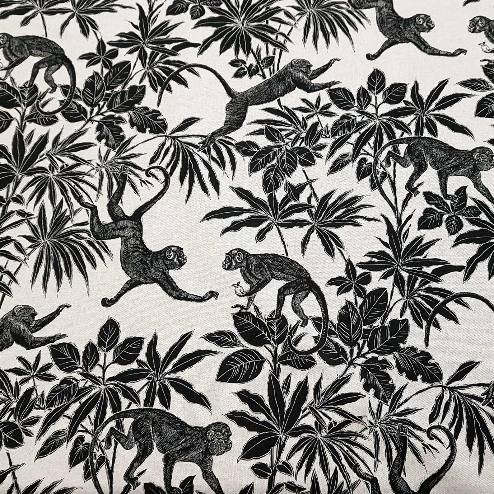 Stoff Baumwolle Meterware Natur Schwarz Affen Dschungel Dekostoff