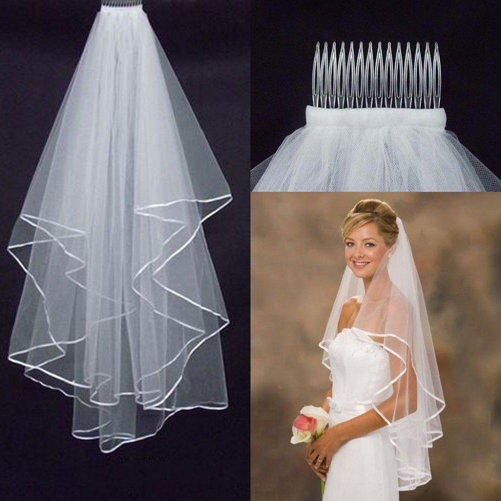 popüler ucuz basit fildişi İki katmanlar tül kısa gelin düğün