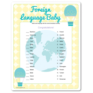 foreign language baby shower game match the word baby in